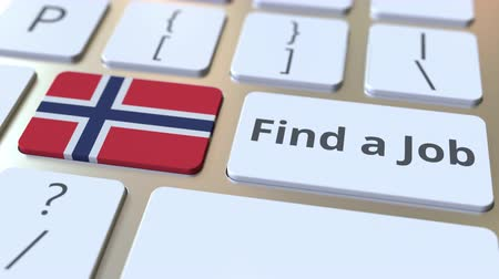 трудовые ресурсы : FIND A JOB text and flag of Norway on the buttons on the computer keyboard. Employment related conceptual 3D animation