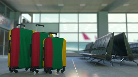 flag of lithuania : Travel suitcases with flag of Lithuania. Lithuanian tourism conceptual 3D animation