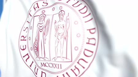 sorguç : Waving flag with University of Padua emblem, close-up. Editorial loopable 3D animation