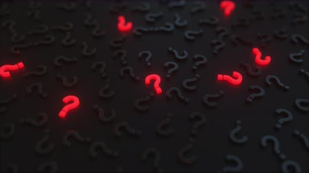 quest : Glowing red question marks among black ones. Conceptual 3D animation