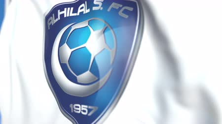 flapping : Waving flag with Al Hilal FC football club logo, close-up. Editorial loopable 3D animation
