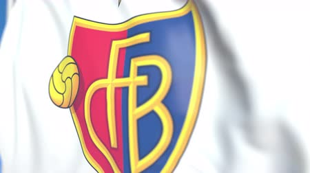 flapping : Flying flag with FC Basel football club logo, close-up. Editorial loopable 3D animation