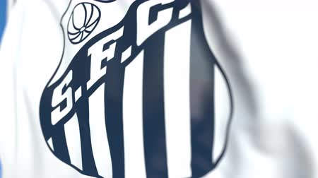 santos : Flying flag with Santos FC football club logo, close-up. Editorial loopable 3D animation