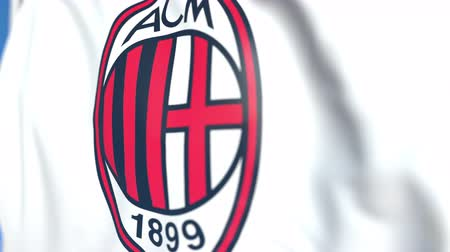 bola de futebol : Flying flag with AC Milan football club logo, close-up. Editorial loopable 3D animation Vídeos