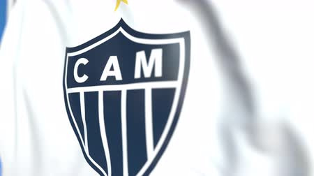 championnat : Flying flag with Clube Atletico Mineiro football club logo, close-up. Editorial loopable 3D animation