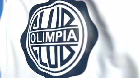 flapping : Flying flag with Club Olimpia football club logo, close-up. Editorial loopable 3D animation Stock Footage