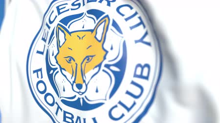 flapping : Waving flag with Leicester City FC football club logo, close-up. Editorial loopable 3D animation Stock Footage