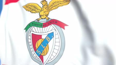 flapping : Waving flag with Benfica football team logo, close-up. Editorial loopable 3D animation