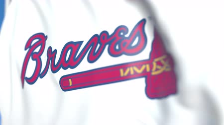 soar : Waving flag with Atlanta Braves team logo, close-up. Editorial loopable 3D animation