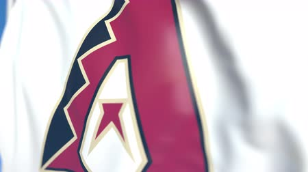flapping : Waving flag with Arizona Diamondbacks team logo, close-up. Editorial loopable 3D animation