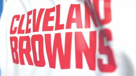 symbolic : Flying flag with Cleveland Browns team logo, close-up. Editorial loopable 3D animation Stock Footage