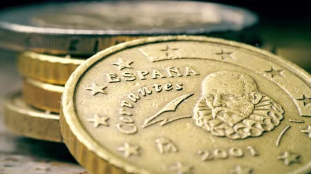 eur : Portrait of Servantes on Spanish 50 Euro cents coin, macro shot