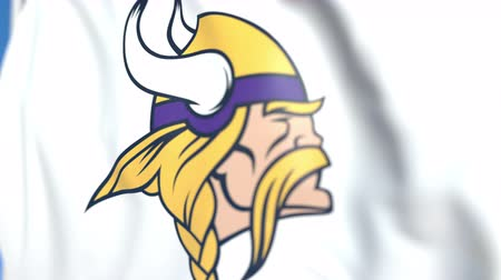 vikings : Waving flag with Minnesota Vikings team logo, close-up. Editorial loopable 3D animation
