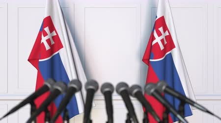 press conference : Slovak official press conference. Flags of Slovakia and microphones. Conceptual 3D animation