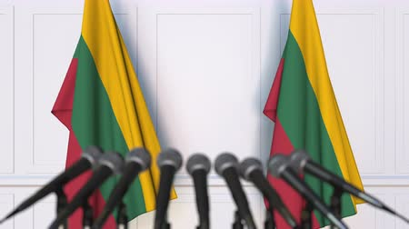 flag of lithuania : Lithuanian official press conference. Flags of Lithuania and microphones. Conceptual 3D animation