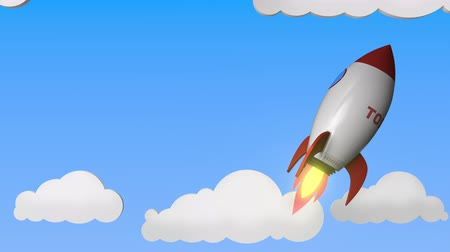 companhia : Logo of TOSHIBA on a flying rocket. Editorial success related loopable 3D animation