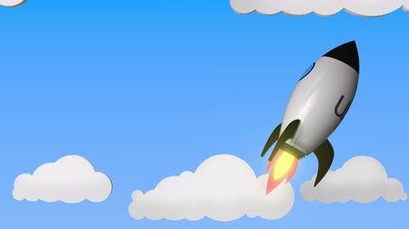 打ち上げ : Logo of UBER on a flying rocket. Editorial success related loopable 3D animation 動画素材