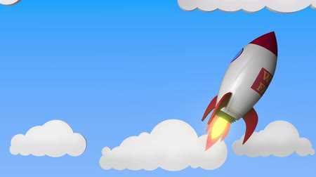 ракета : WELLS FARGO logo against a rocket mockup. Editorial success related loopable 3D animation