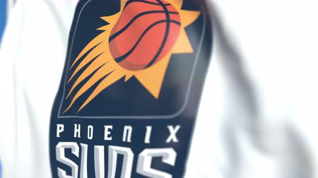 anka kuşu : Flying flag with Phoenix Suns team logo, close-up. Editorial loopable 3D animation