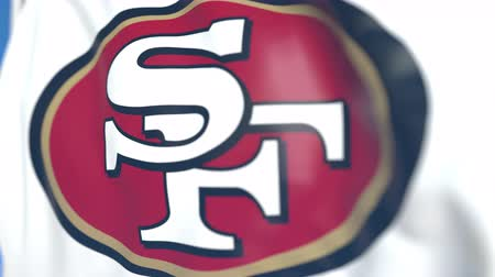 flapping : Waving flag with San Francisco 49Ers team logo, close-up. Editorial loopable 3D animation