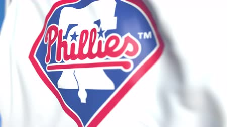 soar : Waving flag with Philadelphia Phillies team logo, close-up. Editorial loopable 3D animation