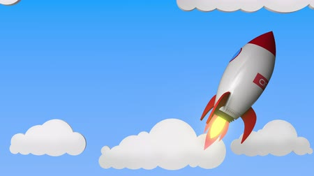 oficial : Logo of ORACLE on a flying rocket. Editorial success related loopable 3D animation Stock Footage