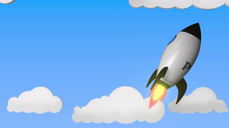 pwc : Logo of PWC on a flying rocket. Editorial success related loopable 3D animation Stock Footage