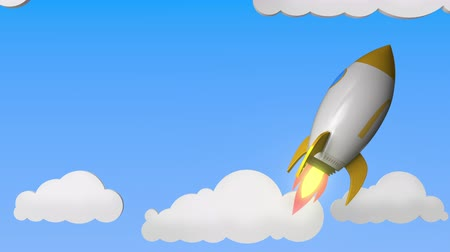 mcdonalds : Logo of MCDONALDS on a flying rocket. Editorial success related loopable 3D animation Stock Footage