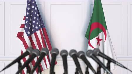 algeria : Flags of the USA and Algeria at international meeting or conference. 3D animation