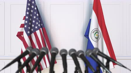press conference : Flags of the USA and Paraguay at international meeting or conference. 3D animation