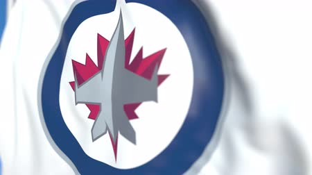 hokej : Waving flag with Winnipeg Jets NHL hockey team logo, close-up. Editorial loopable 3D animation Wideo