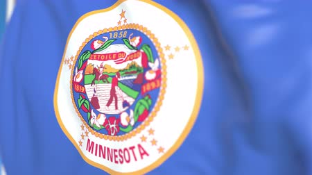 explodindo : Flying flag of Minnesota. Close-up, loopable 3D animation