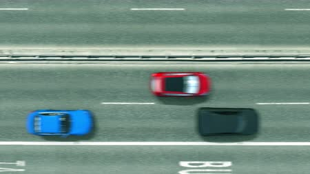 キャプション : Aerial top down view of the road with cars revealing Zagreb caption. Car travel in Croatia conceptual clip