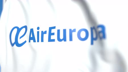 symbolic : Flying flag with Air Europa logo, close-up. Editorial loopable 3D animation
