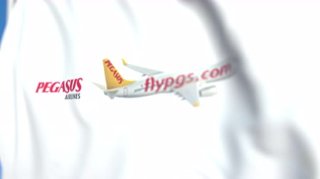 pegaz : Waving flag with Pegasus Airlines logo, close-up. Editorial loopable 3D animation