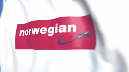 lançadeira : Flying flag with Norwegian Air Shuttle logo, close-up. Editorial loopable 3D animation