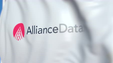 alliance : Flying flag with Alliance Data logo, close-up. Editorial loopable 3D animation