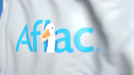 úředník : Waving flag with Aflac logo, close-up. Editorial loopable 3D animation