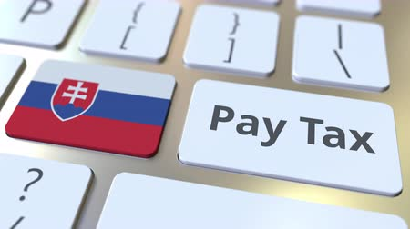 Словакия : PAY TAX text and flag of Slovakia on the buttons on the computer keyboard. Taxation related conceptual 3D animation Стоковые видеозаписи