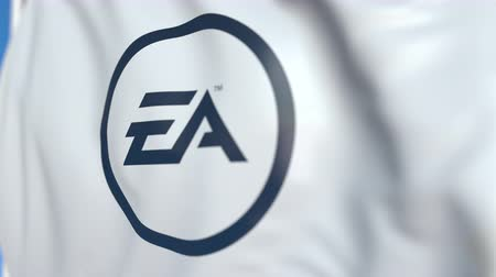 oficial : Flying flag with Electronic Arts logo, close-up. Editorial loopable 3D animation