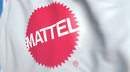 oficial : Flying flag with Mattel logo, close-up. Editorial loopable 3D animation