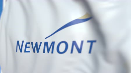 oficial : Waving flag with Newmont Mining Corporation logo, close-up. Editorial loopable 3D animation Vídeos