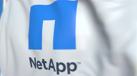 logo : Waving flag with NetApp logo, close-up. Editorial loopable 3D animation