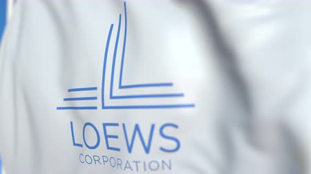 oficial : Flying flag with Loews Corporation logo, close-up. Editorial loopable 3D animation