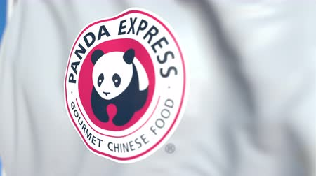 oficial : Waving flag with Panda Express logo, close-up. Editorial loopable 3D animation