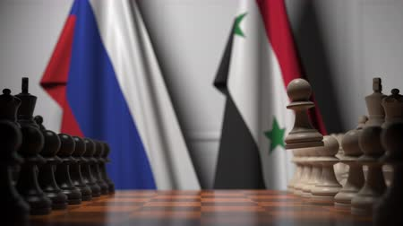 oposição : Flags of Russia and Syria behind chess board. The first pawn moves in the beginning of the game. Political rivalry conceptual 3D animation