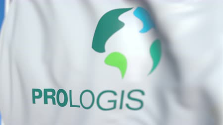 flapping : Waving flag with Prologis logo, close-up. Editorial loopable 3D animation