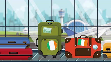 arrive : Suitcases with Irish flag stickers on baggage carousel in airport, close-up. Tourism in Ireland related loopable cartoon animation