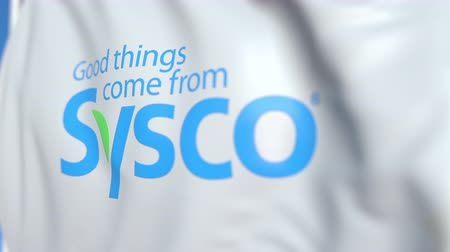 oficial : Waving flag with Sysco Corporation logo, close-up. Editorial loopable 3D animation Vídeos