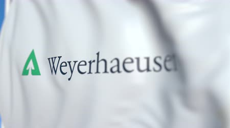 oficial : Waving flag with Weyerhaeuser logo, close-up. Editorial loopable 3D animation Vídeos